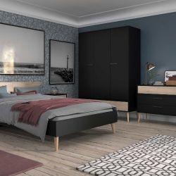 Schlafzimmer Hardy schwarz/Eiche