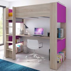 BO5 High sleeper bed with desk Oak/Fuchsia