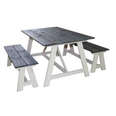 Country Picknick-Set - weiß/dunkelgrau