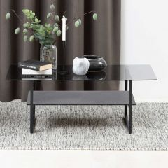 Okaya coffee table,glass table - matt black, clear