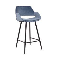 Barhocker 'Dorian' Velvet Blue (H-Sitz 65cm) - 2er-Set