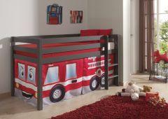 Halbhochbett Charlotte taupe mit Spielzelt Feuerwehr