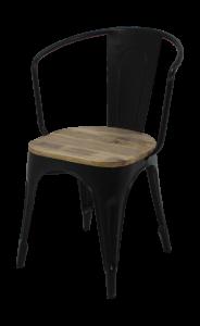Industrie-Café-Stuhl - Mangoholz / Eisen