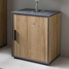 Bad Adria - Waschbecken Unterschrank 45 cm breit mit 1 Tür - Korpus Alteiche Dekor, Absatz Graphit