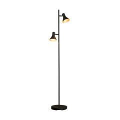 Stehlampe 2L cup in matt black mit gold inside - Schwarz