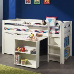 Halbhochbett Charlotte mit Schreibtisch, Bücherschrank und Regalen  - weiß