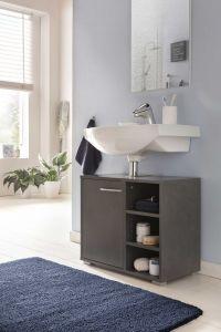 Waschtisch Unterschrank mit 1 Tür und 3 Fächern - Graphit Dekor Melamin