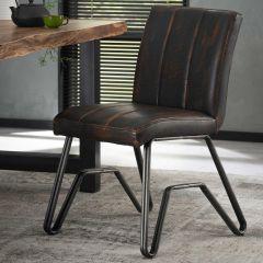 Stuhl Vintage gewaschen PU doppelt W-Gestell 2St - Ctn - Braun