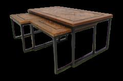 Couchtischset Bradley - recyceltes Java-Holz / Eisen - 3er-Set