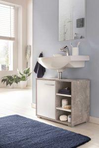 Waschtisch Unterschrank mit 1 Tür und 3 Fächern - Beton / Weiß Melamin Dekor