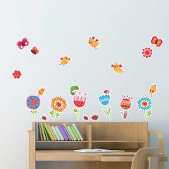 Wandsticker Vögel und Blumen