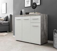 Kommode/Sideboard mit 3 Türen und 1 Schublade, Korpus Beton mit Fronten in Weiß Melamin Dekor - Beton / Weiß Melamin Dekor