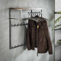 Garderobe grained Hoch 14 Haken mit Stange und Hutablage - Robustes Hartholz