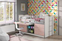 Halbhochbett mit Schreibtisch Bonny 95 - rosa