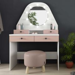 1736 Vanity Table Star Antique Pink/White