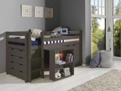 Halbhochbett Charlotte mit Schreibtisch, Schränkchen und Hochkommode - taupe