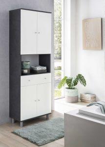 Hochschrank 4-trg. mit 1 offenen Fach und 1 großen Schublade - Graphit / Weiß Melamin Dekor