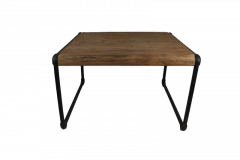 Couchtisch Bügeleisen - 60x60 cm - natur / schwarz - Teak / Eisen