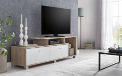TV-Lowboard mit 2 Fächern und 3 Klappen - Korpus Eiche Sonoma Dekor, Front Weiß Melamin