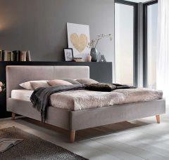 Gedempt bed Paula - 140x200 cm - taupe