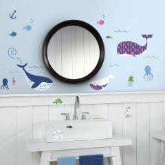 Wandaufkleber Meereswale - Set mit 50 Aufklebern