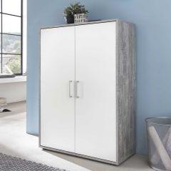 Serie Maxi-Office, Schrank breit mit 2 Türen, 110,5 cm hoch - Beton/Weiß Dekor