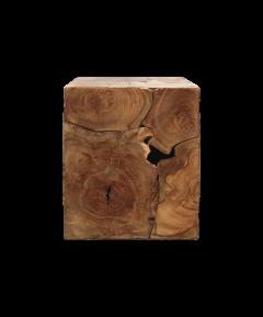 Würfel-Beistelltisch - 30x30 cm - Teakholz - Naturwachs