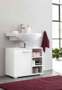 Waschtisch Unterschrank mit 1 Tür und 3 Fächern - Weiß Dekor Melamin