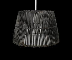 Hängelampe - ø33 cm - Rattan - schwarze Waschung