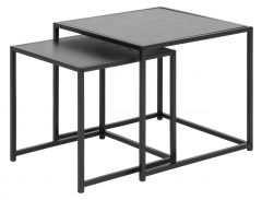 Seaford nest of tables 2 pcs. - matt black, black ash