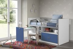 Halbhochbett mit Schreibtisch Bonny 91 - blau