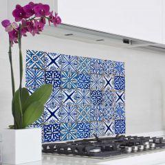 Wandaufkleber Fliesen Rückwand Küche - blau