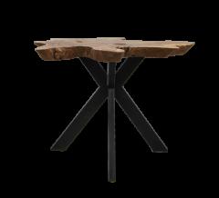 Couchtisch Victoria - ø60-70x53 cm - Teak / Eisen