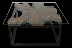 Couchtisch - 70x70 cm - Teak / Eisen