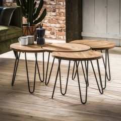 Couchtisch set - 4 Ø50 - Massiv acacia naturel