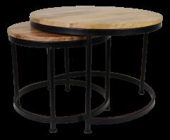 Couchtisch Stahl - ø60 cm - Mangoholz / Eisen - 2er-Set - natur