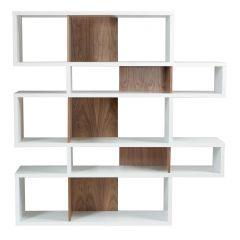 Bücherschrank Lissabon 2 - weiß / Nussbaum