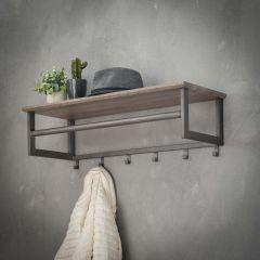 Garderobe 6 Haken mit Stange -Hutablage - 3D Eiche grau waschen