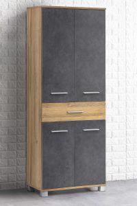 Seitenschrank mit 4 Türen und 1 Schublade Bad Kao - Korpus Alteiche Melamin Front Graphit Dekor