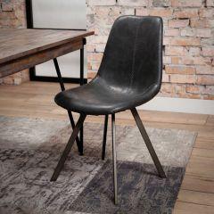 Stuhl zig-zag flacher Rahmen - Set von 4 - st - Saddle PU Schwarz