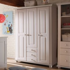 Kleiderschrank Laurel 131cm mit 3 Türen und 3 Schubladen - weiß