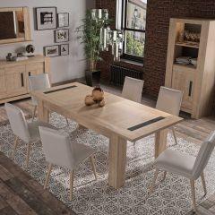 BOSTON - Table rectangulaire 1 allonge Chêne blond