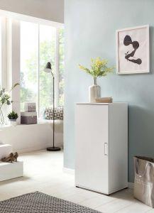 Schuhschrank 1-trg.mit 5 Böden - Melamin Weiß Dekor