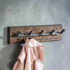 Garderobe grained 5 Haken - Robustes Hartholz