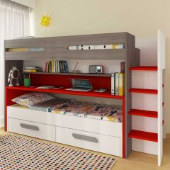 BO10 Bunk bed with desk Red color
