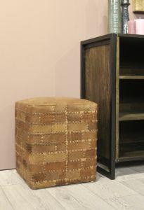 Hocker Patchwork - 33x33 cm - Leder - Vintage Cognac