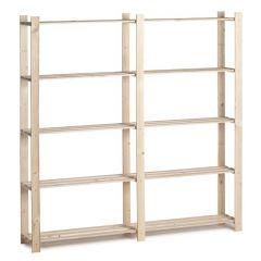 Holzlagerregal doppelt 30kg 5 Fächer - schmal