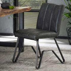 Stuhl Vintage gewaschen PU doppelt W-Gestell 2St - Ctn - Anthrazit
