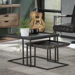 Couchtisch Set - 2 Quadrat Metallisch - Grau