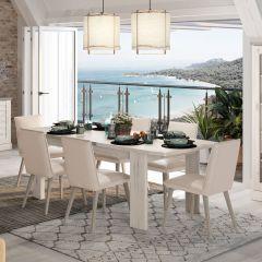 VERMONT - Table rectangulaire 1 allonge Chêne Helvézia blanchi